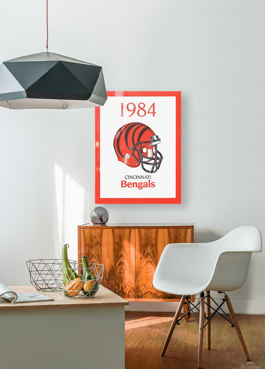 1984 cincinnati bengals retro helmet poster  HD Metal print with Floating Frame on Back