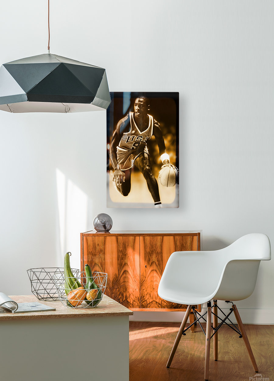 1984 michael jordan usa olympic basketball team  HD Metal print with Floating Frame on Back