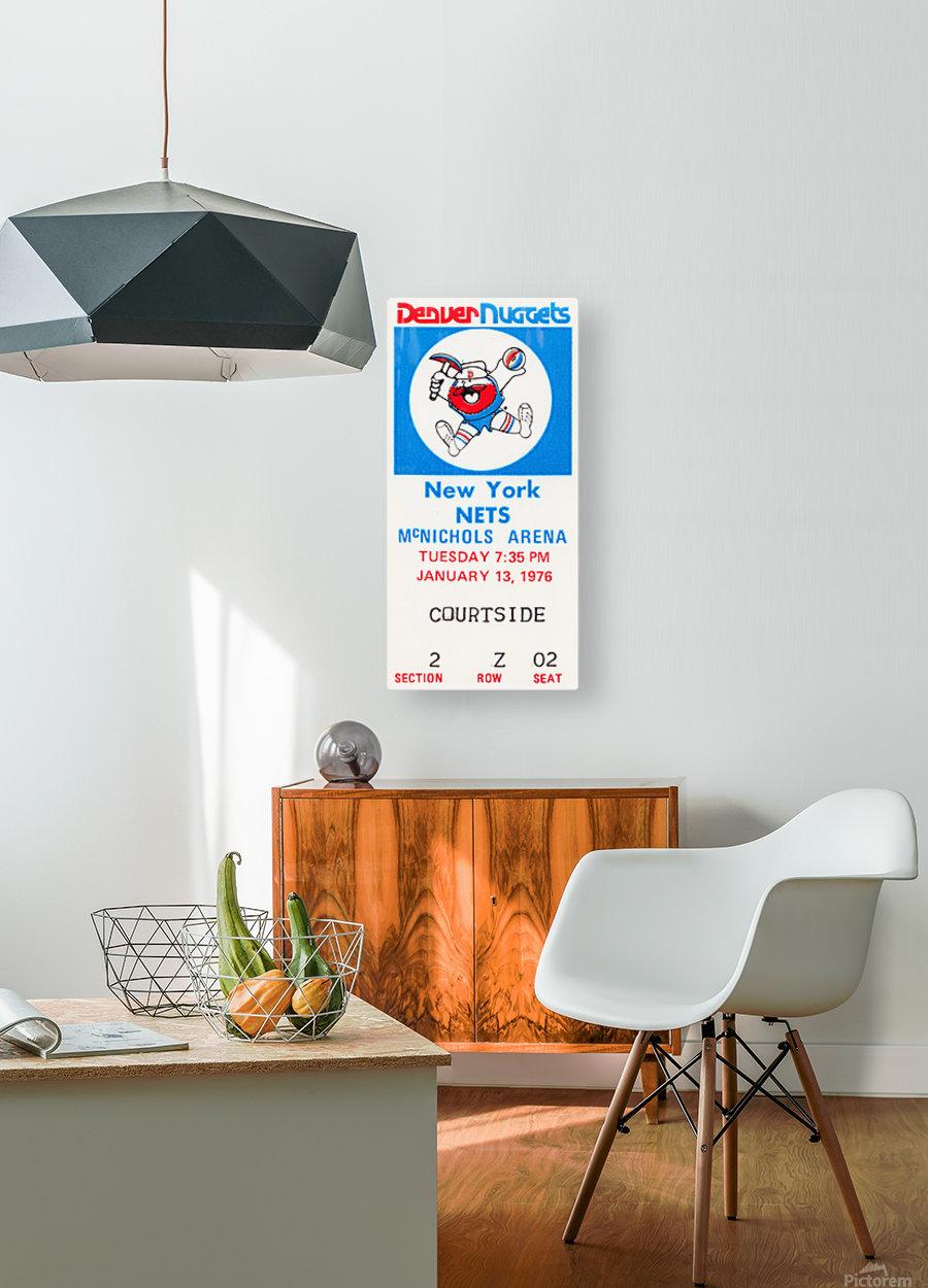 1976 denver nuggets vintage ticket stub art  HD Metal print with Floating Frame on Back