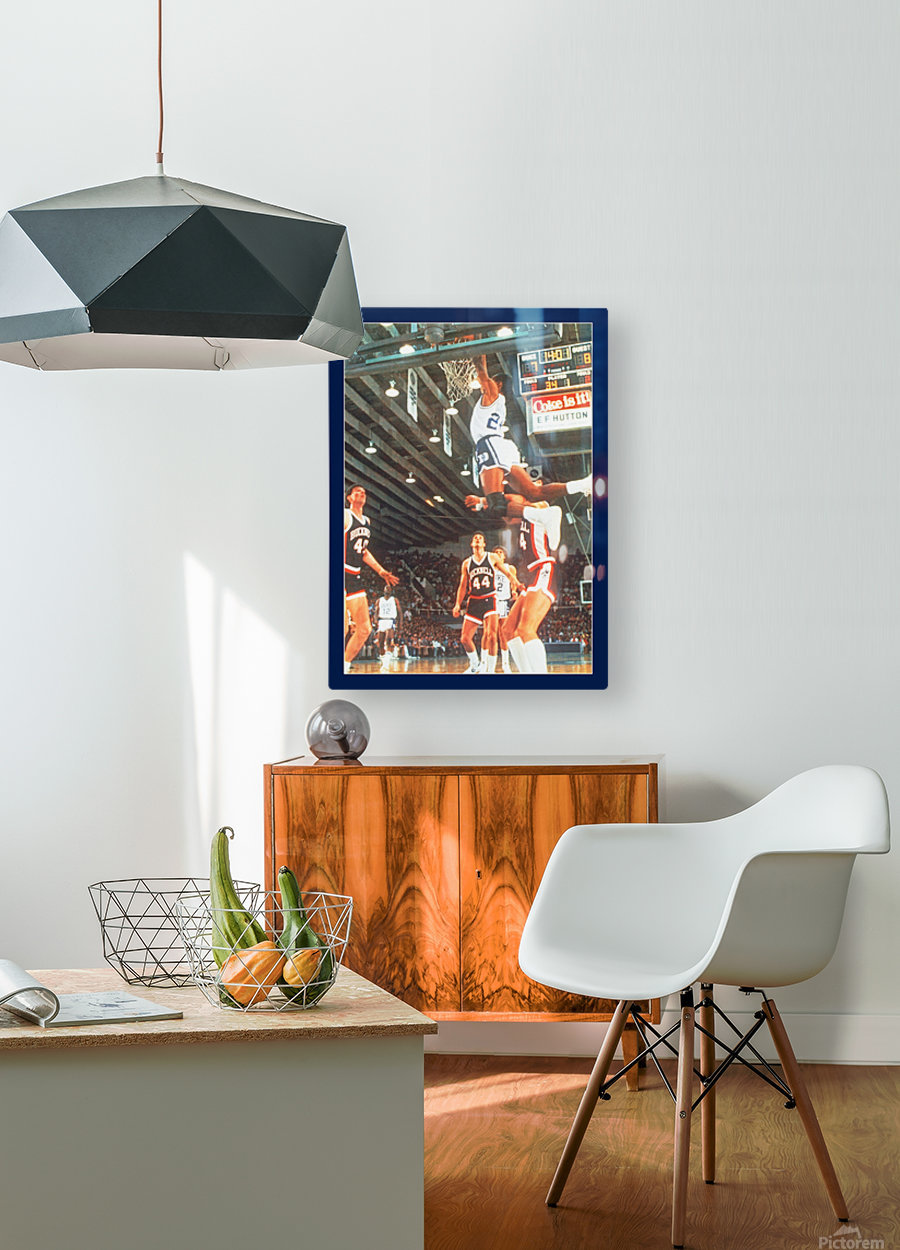 1984 johnny dawkins duke basketball dunk poster (1)  HD Metal print with Floating Frame on Back