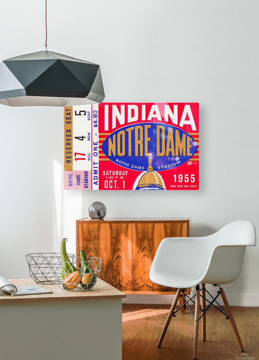 1955 indiana notre dame football ticket stub wall art canvas posters wood  HD Metal print with Floating Frame on Back