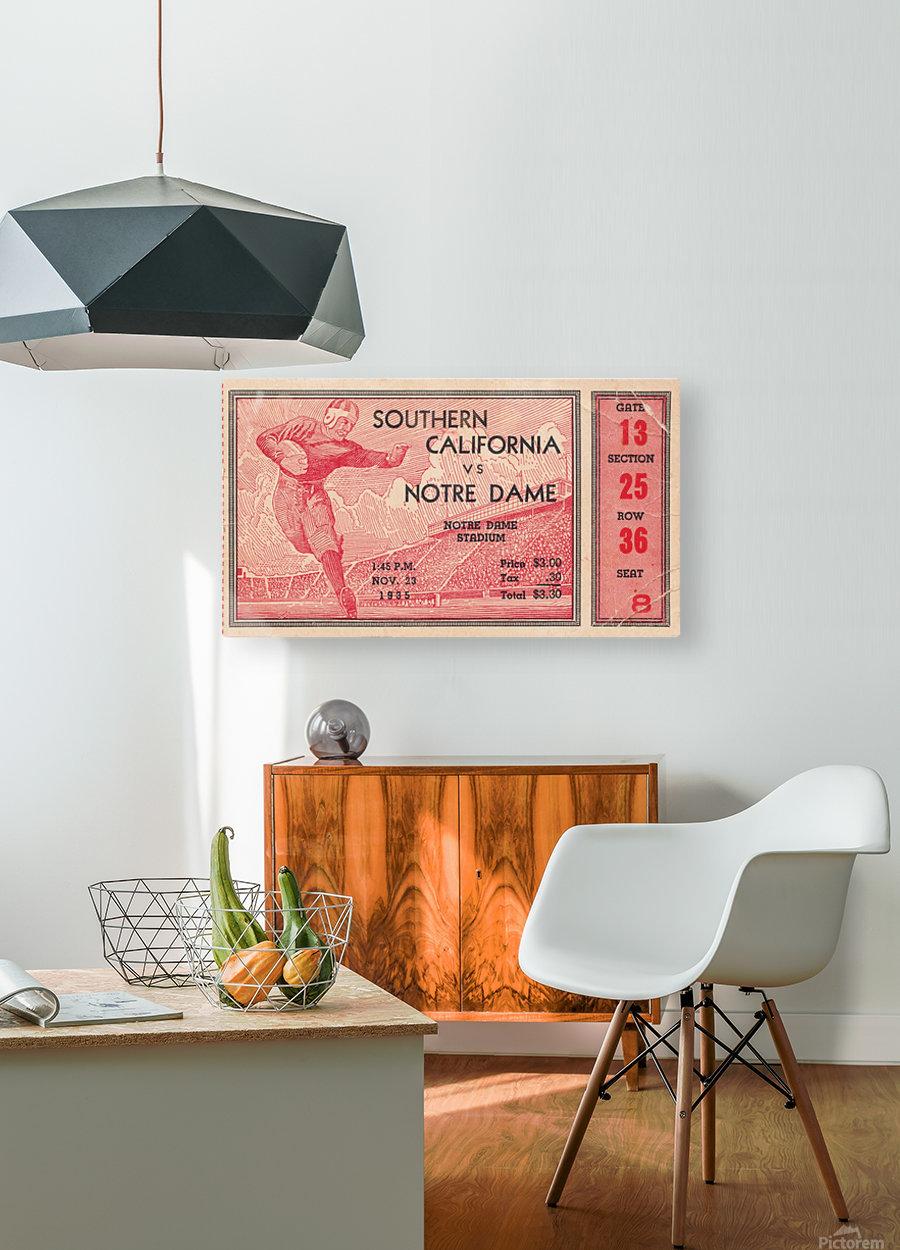 1935 Notre Dame Irish USC Trojans College Ticket Stub Art  HD Metal print with Floating Frame on Back