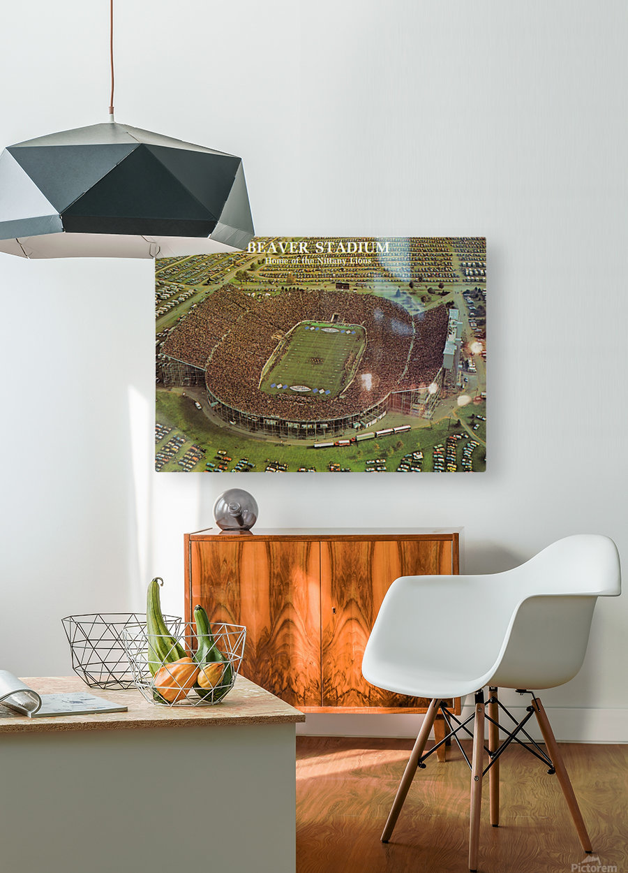 Penn State Football Beaver Stadium Poster 1981  HD Metal print with Floating Frame on Back