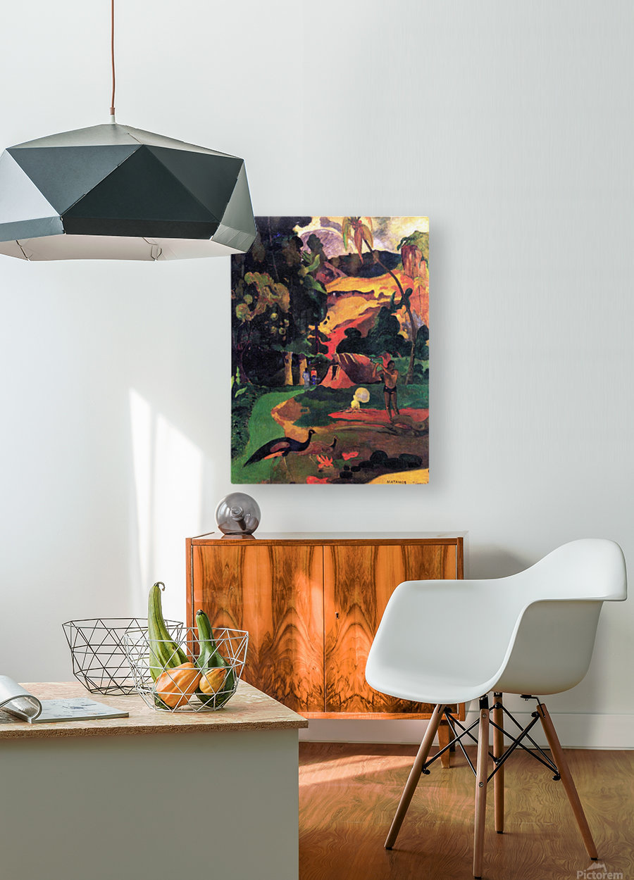 Landscape With Peacocks by Gauguin  HD Metal print with Floating Frame on Back