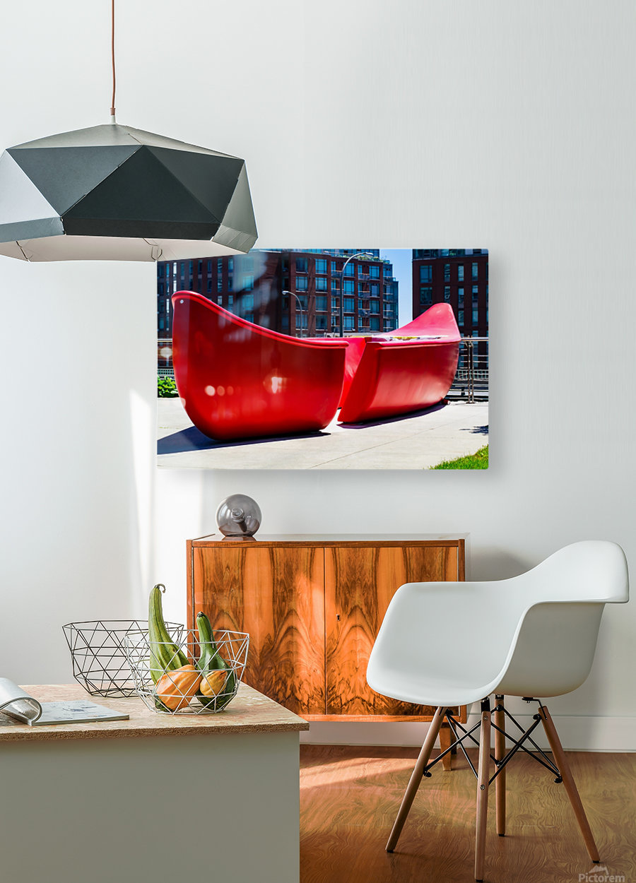 Red Canoe  HD Metal print with Floating Frame on Back
