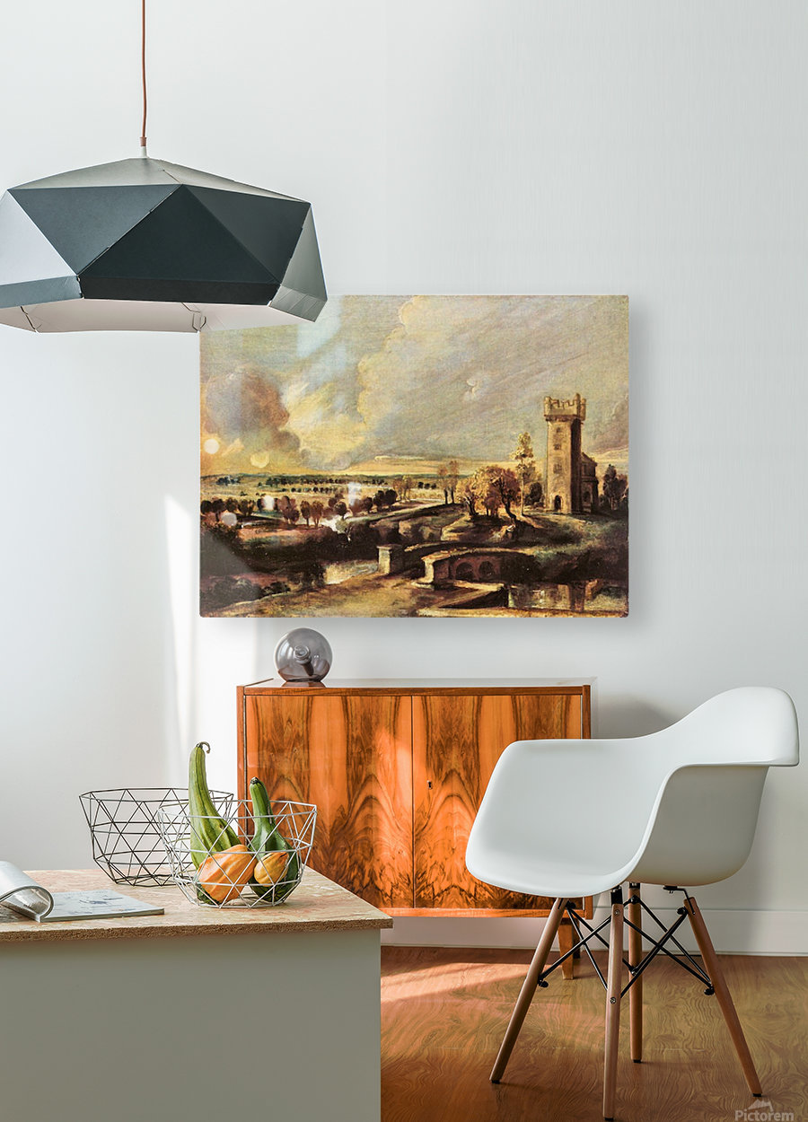 Landscape with the tower of the castle Steen by Rubens  HD Metal print with Floating Frame on Back