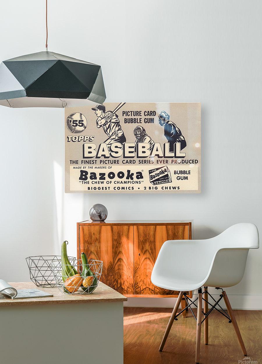 1955 Topps Baseball Bazooka Bubble Gum Vintage Metal Sign  HD Metal print with Floating Frame on Back
