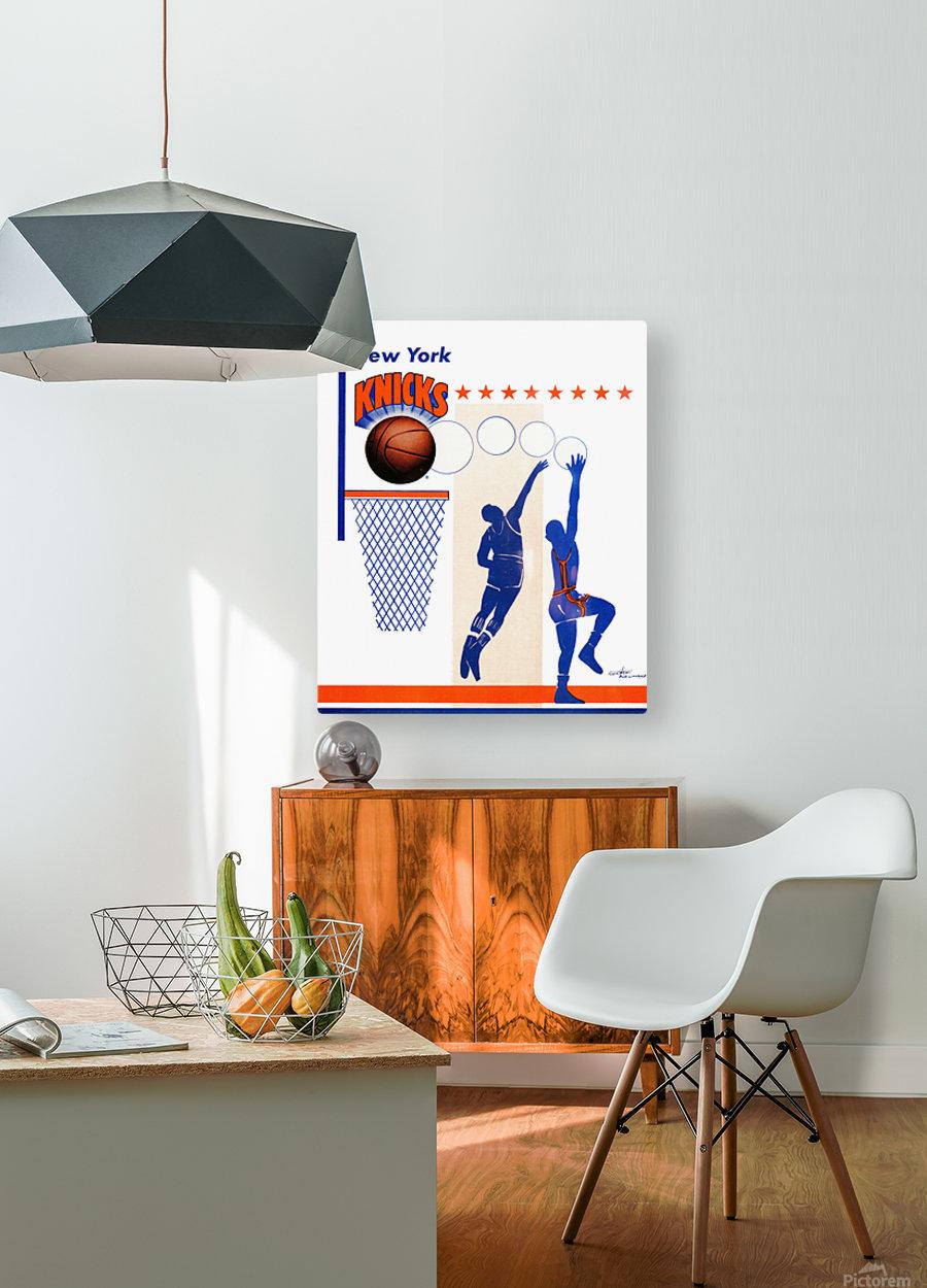George Kalinsky Art Vintage New York Knicks Poster Reproduction Sports Art  HD Metal print with Floating Frame on Back