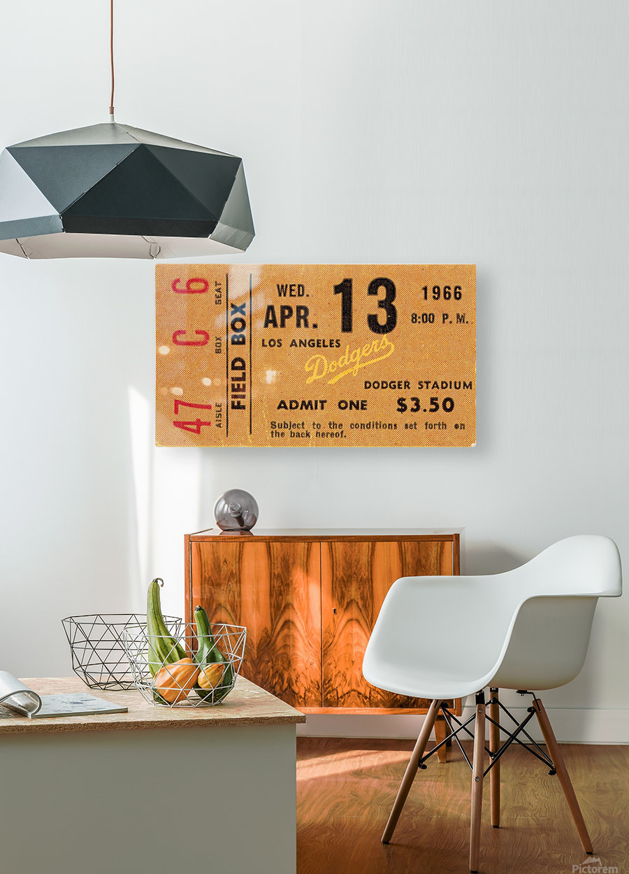 1966 la dodgers baseball ticket stub canvas art  HD Metal print with Floating Frame on Back