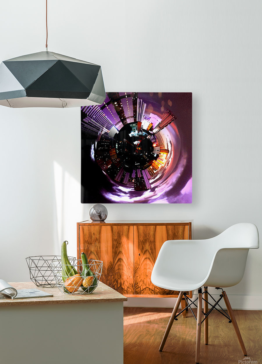 Urban on tiny planet design  HD Metal print with Floating Frame on Back