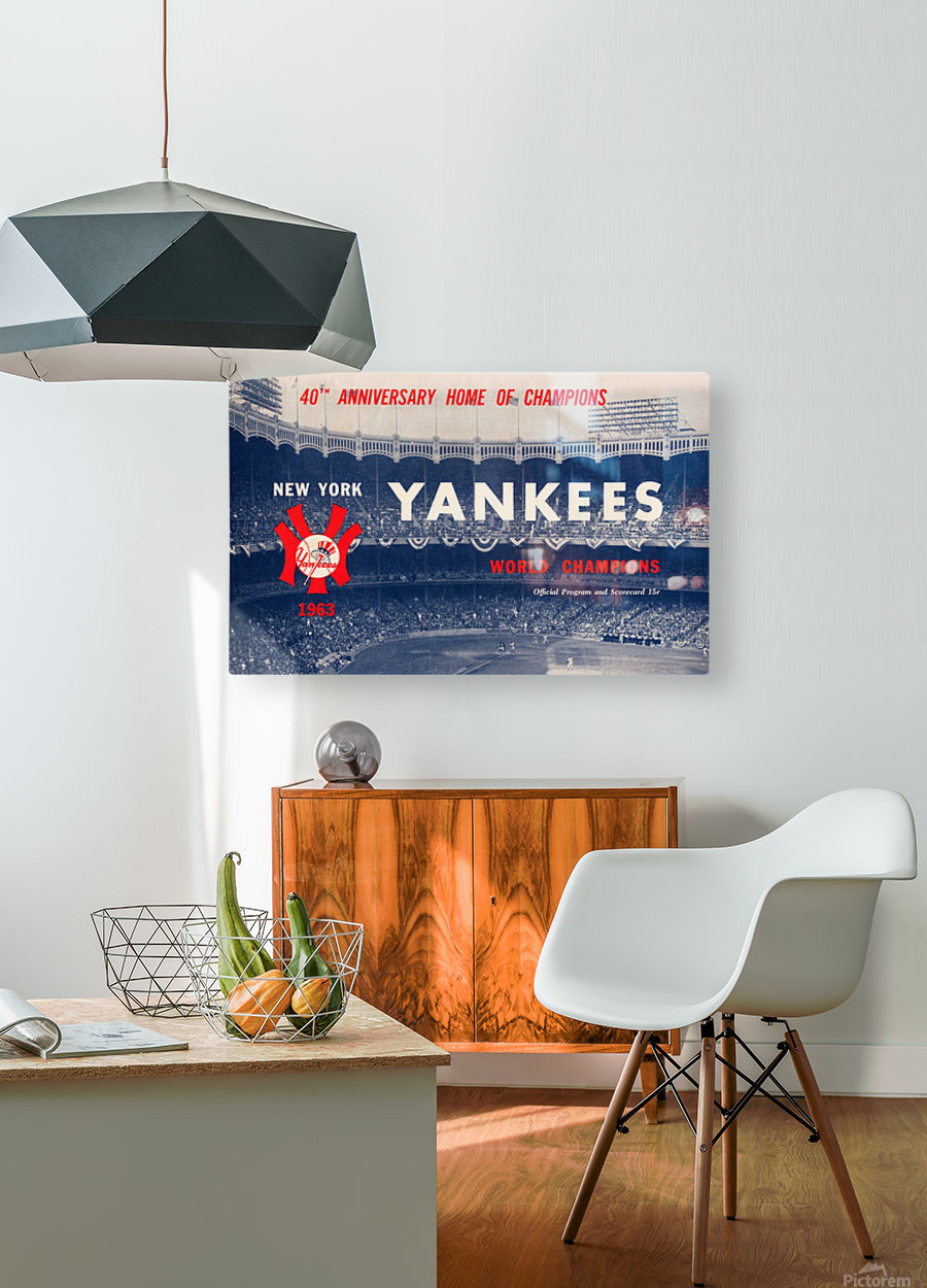 1963 new york yankees world champions scorecard canvas  HD Metal print with Floating Frame on Back
