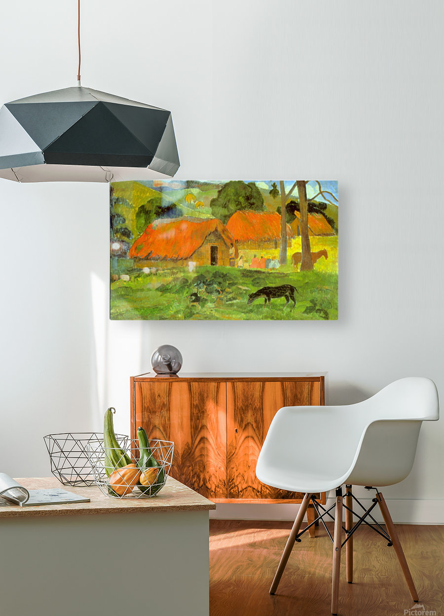 Le Trois Huttes by Gauguin  HD Metal print with Floating Frame on Back