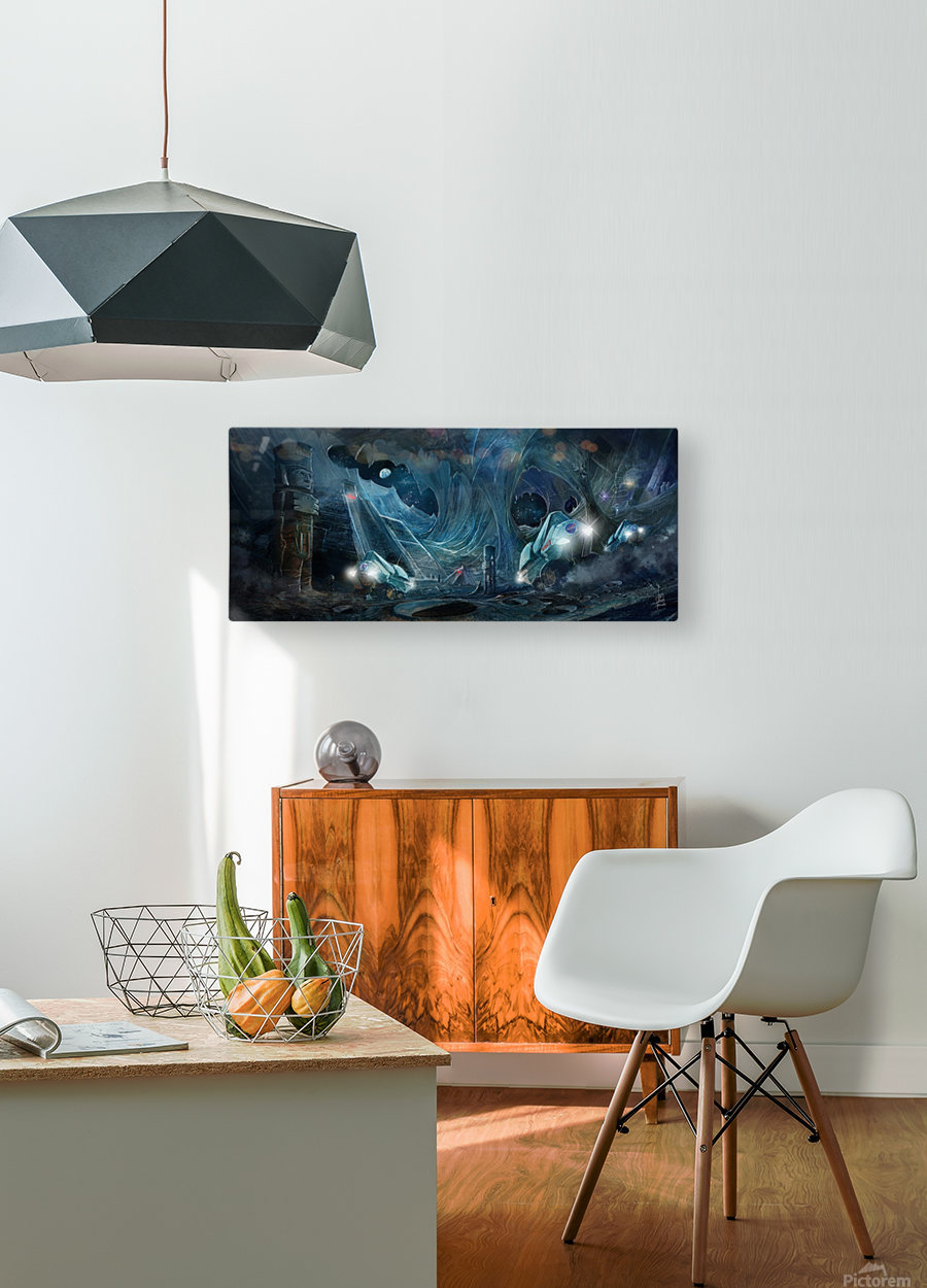 Ancient Aliens on the Moon  HD Metal print with Floating Frame on Back