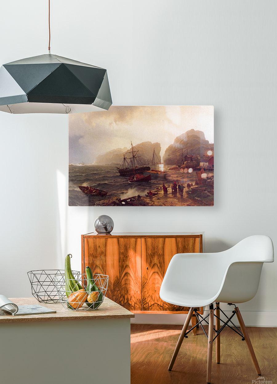 Nodhavn Ved Norskekysten  HD Metal print with Floating Frame on Back