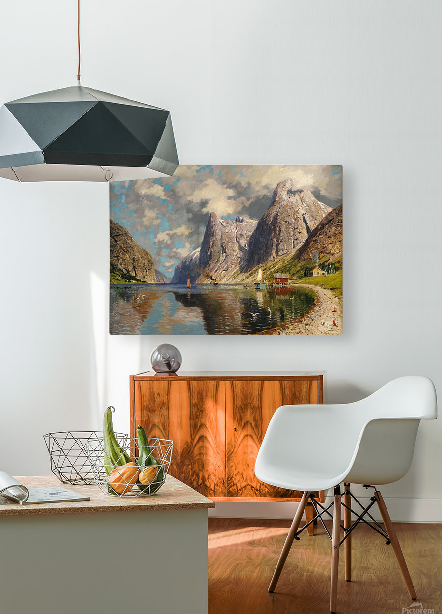 Sommer im Fjord  HD Metal print with Floating Frame on Back