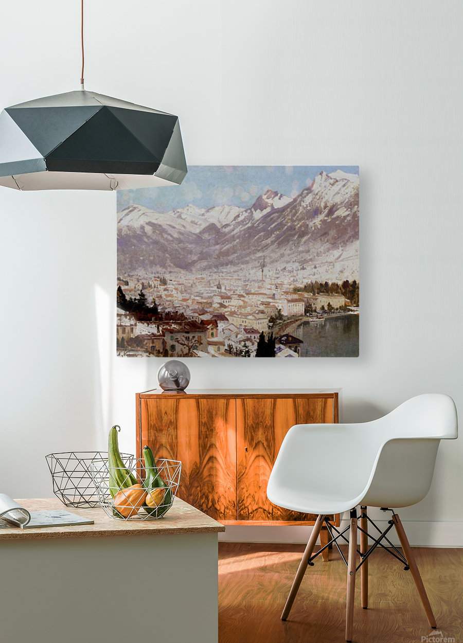A view of Como  HD Metal print with Floating Frame on Back