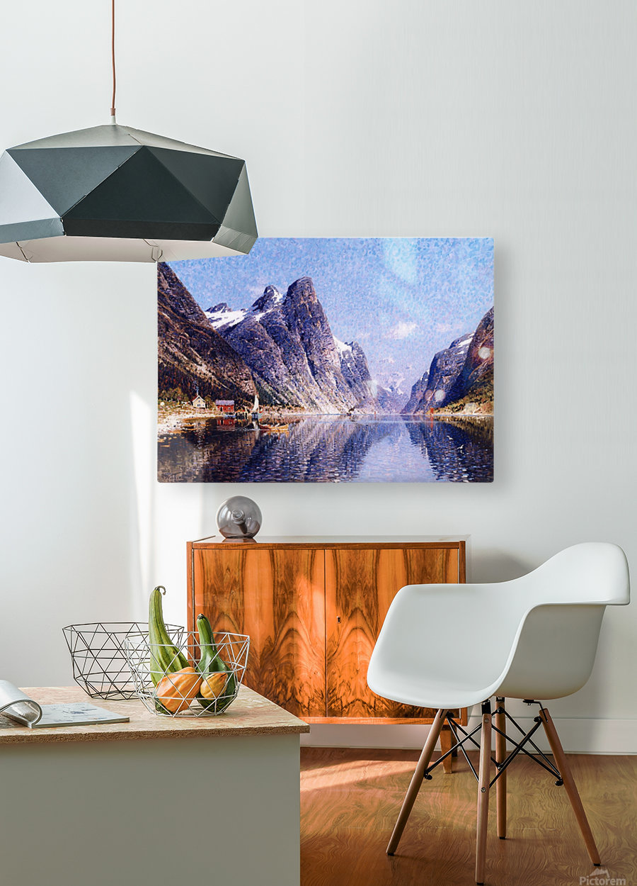 A Norwegian Fjord Scene  HD Metal print with Floating Frame on Back