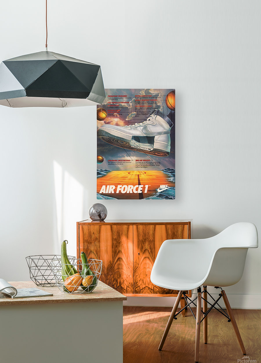 1984 Nike Air Force 1 Shoe Advertisement   HD Metal print with Floating Frame on Back