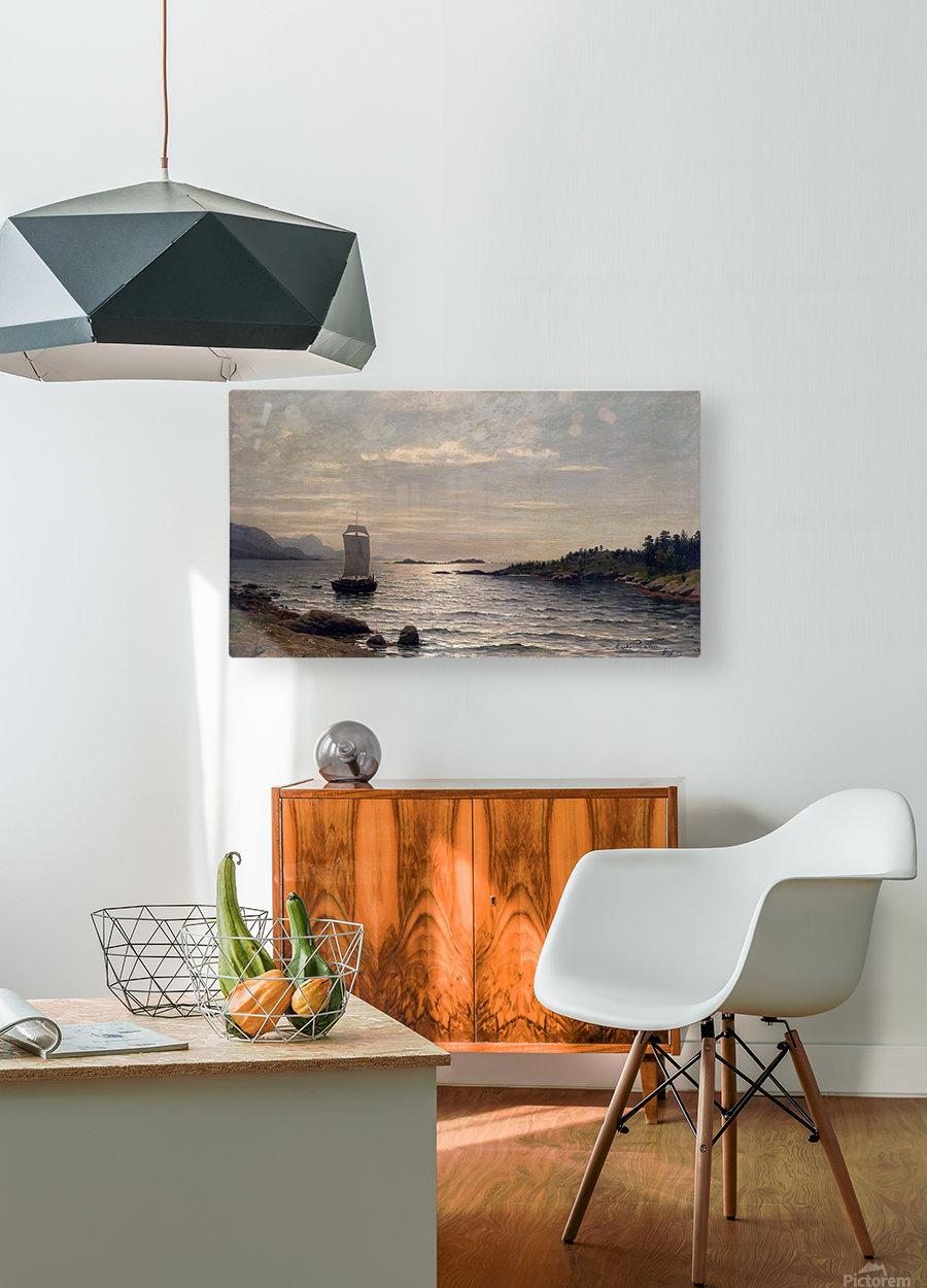 Seilskute i kystlandskap  HD Metal print with Floating Frame on Back