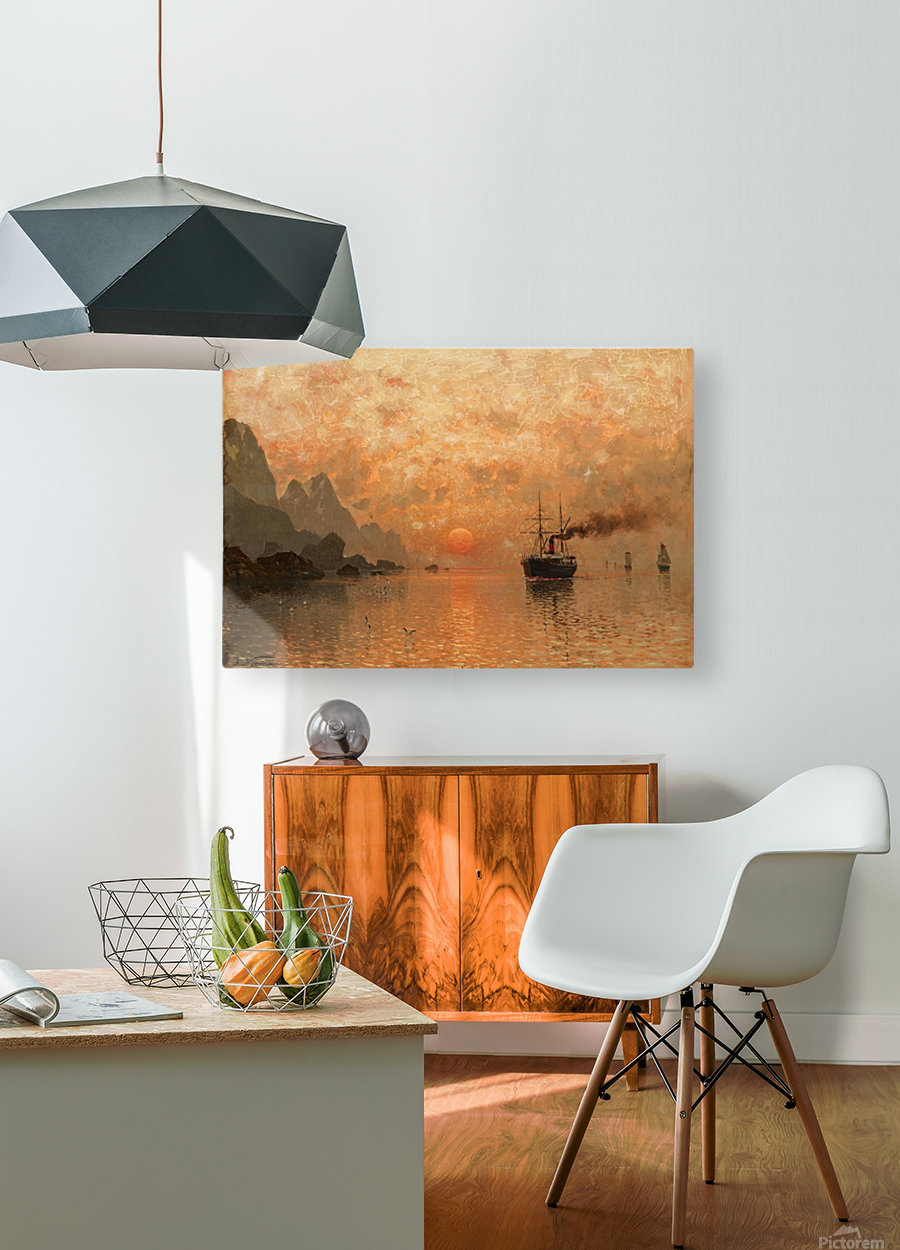 Ships in the Sunset  HD Metal print with Floating Frame on Back