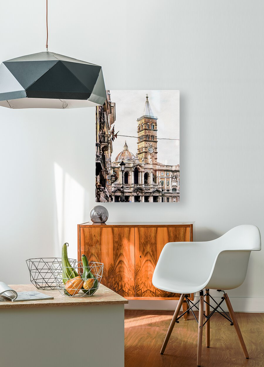 Street View Toward Basilica di Santa Maria Maggiore Rome  HD Metal print with Floating Frame on Back