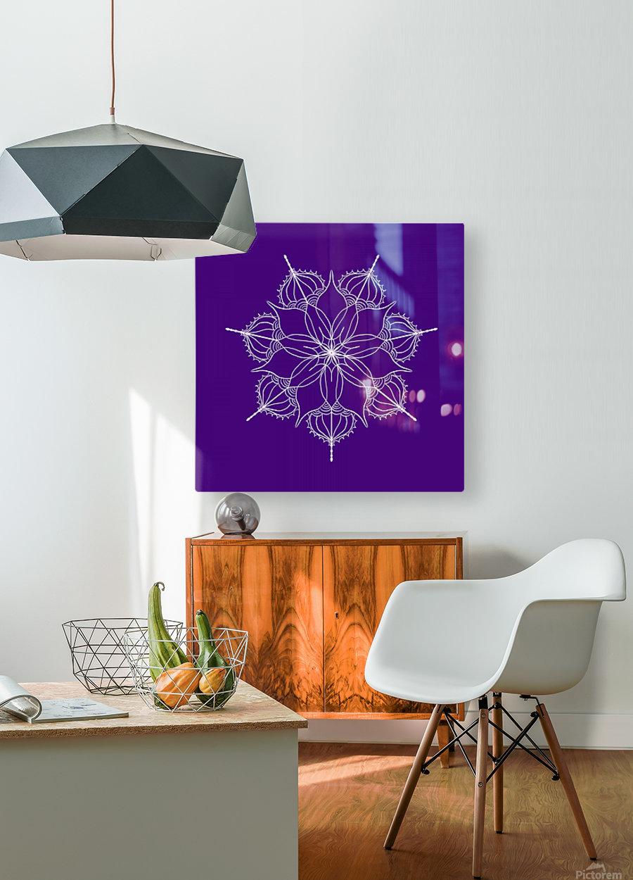 blue flower mandala  HD Metal print with Floating Frame on Back