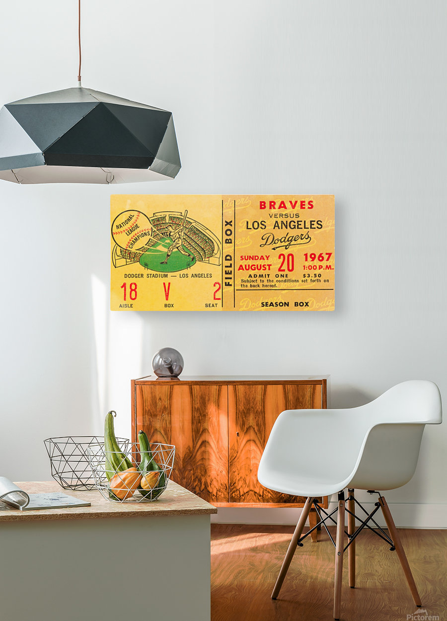 1967 LA Dodgers vs. Atlanta Braves Baseball Ticket Canvas  HD Metal print with Floating Frame on Back