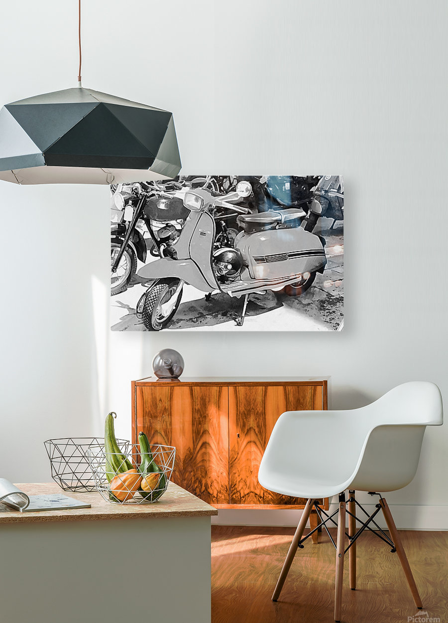Lambretta Scooter Black and White  HD Metal print with Floating Frame on Back