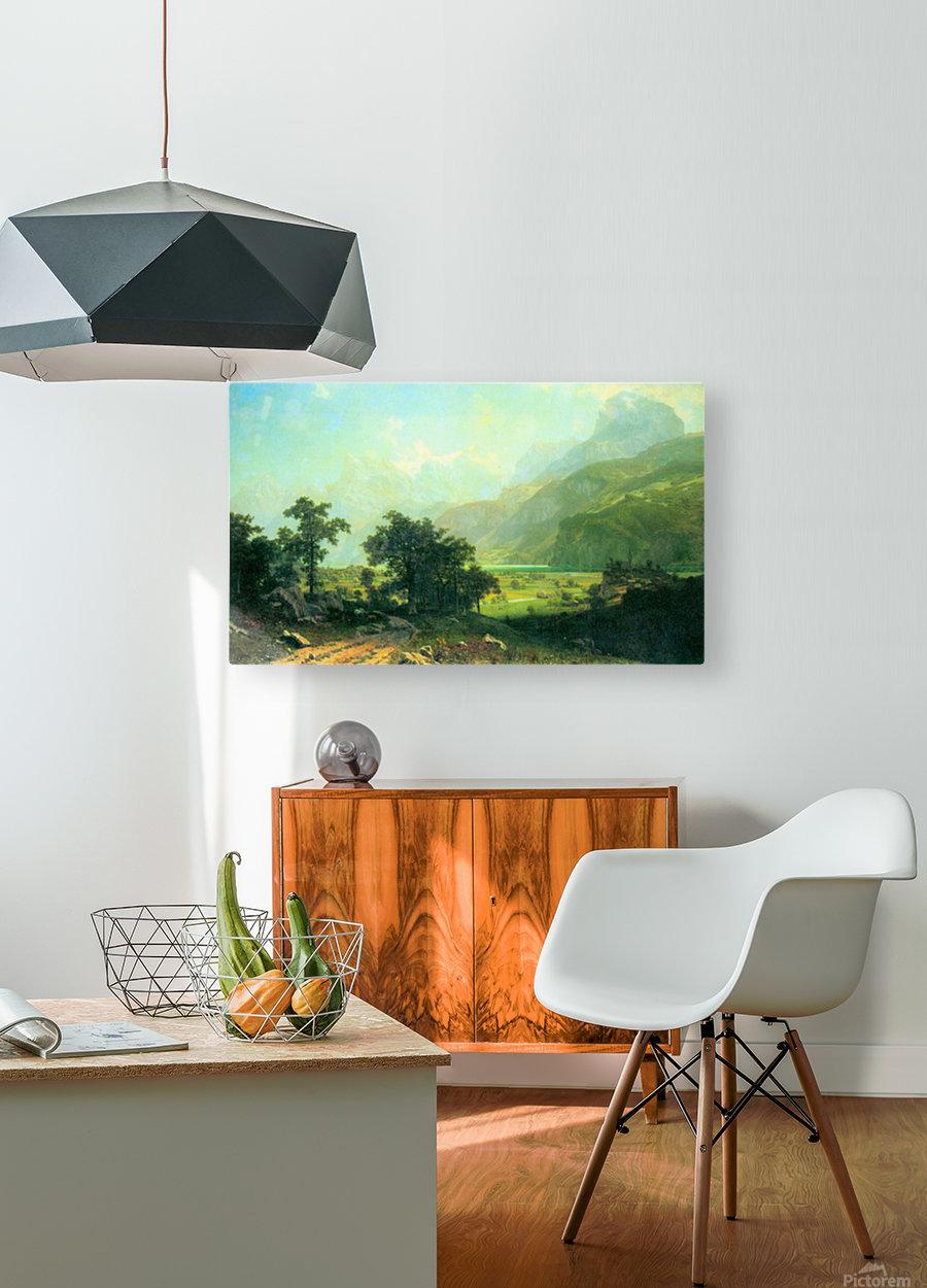 Lucerne Switzerland by Bierstadt  HD Metal print with Floating Frame on Back