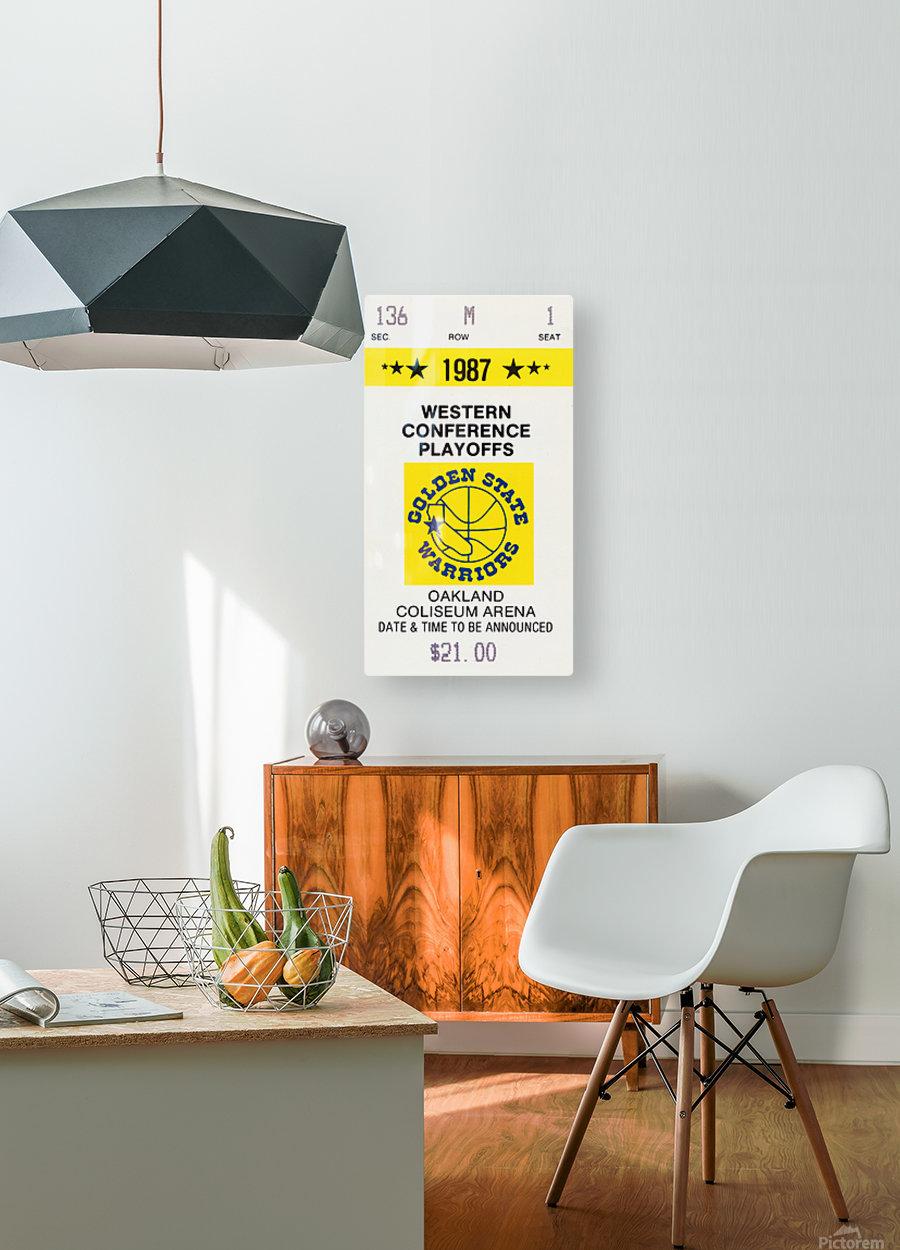 1987 golden state warriors nba basketball ticket art oakland coliseum  HD Metal print with Floating Frame on Back
