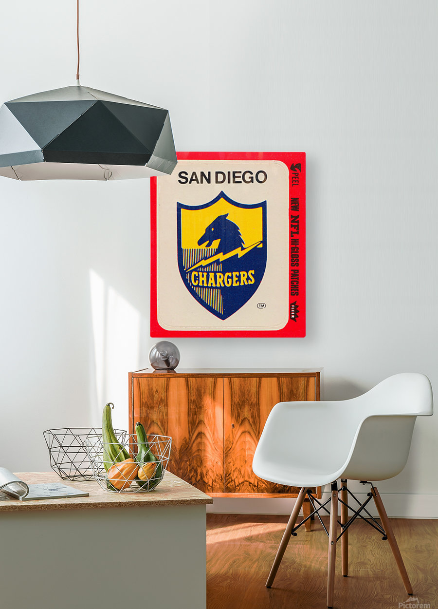 1981 fleer nfl high gloss patch san diego chargers sticker reproduction poster  HD Metal print with Floating Frame on Back