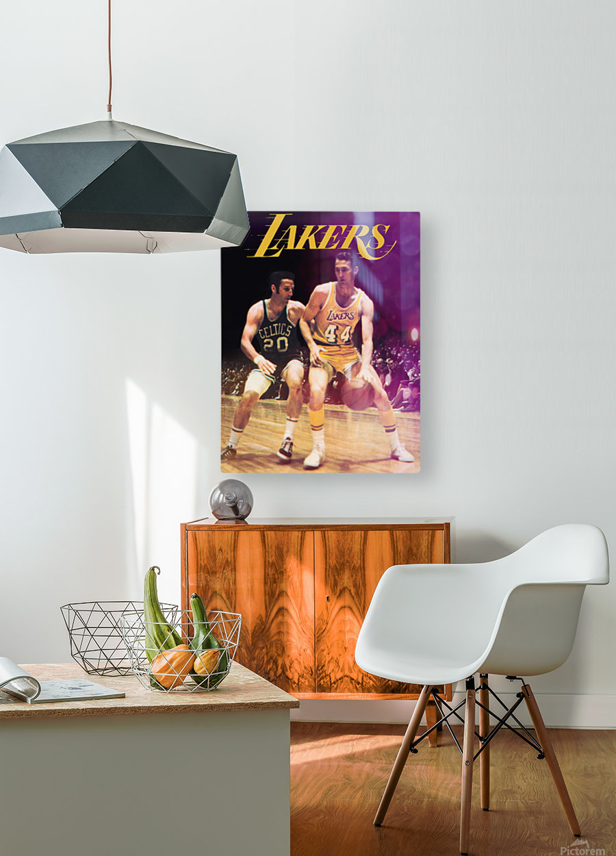 1969 los angeles la lakers jerry west poster  HD Metal print with Floating Frame on Back