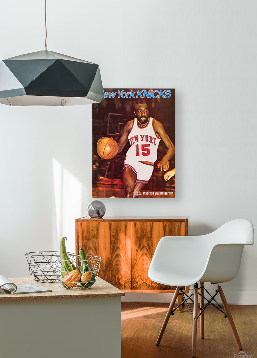 1977 new york knicks basketball poster  HD Metal print with Floating Frame on Back