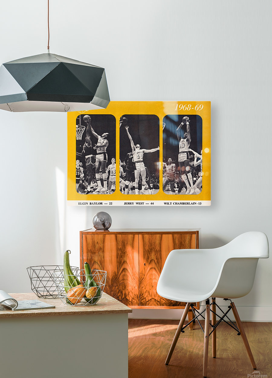 1968 los angeles lakers poster  HD Metal print with Floating Frame on Back