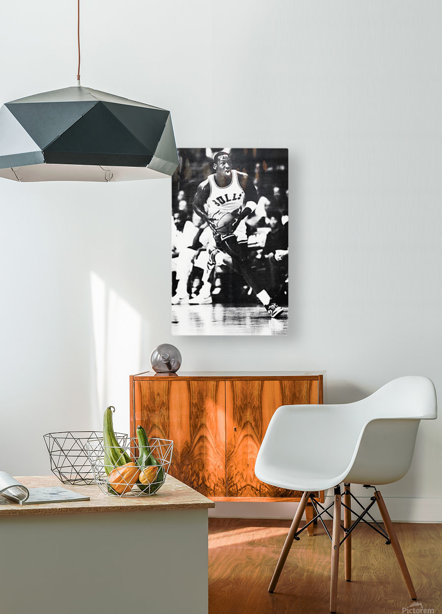 1985 Michael Jordan Black and White Poster  HD Metal print with Floating Frame on Back