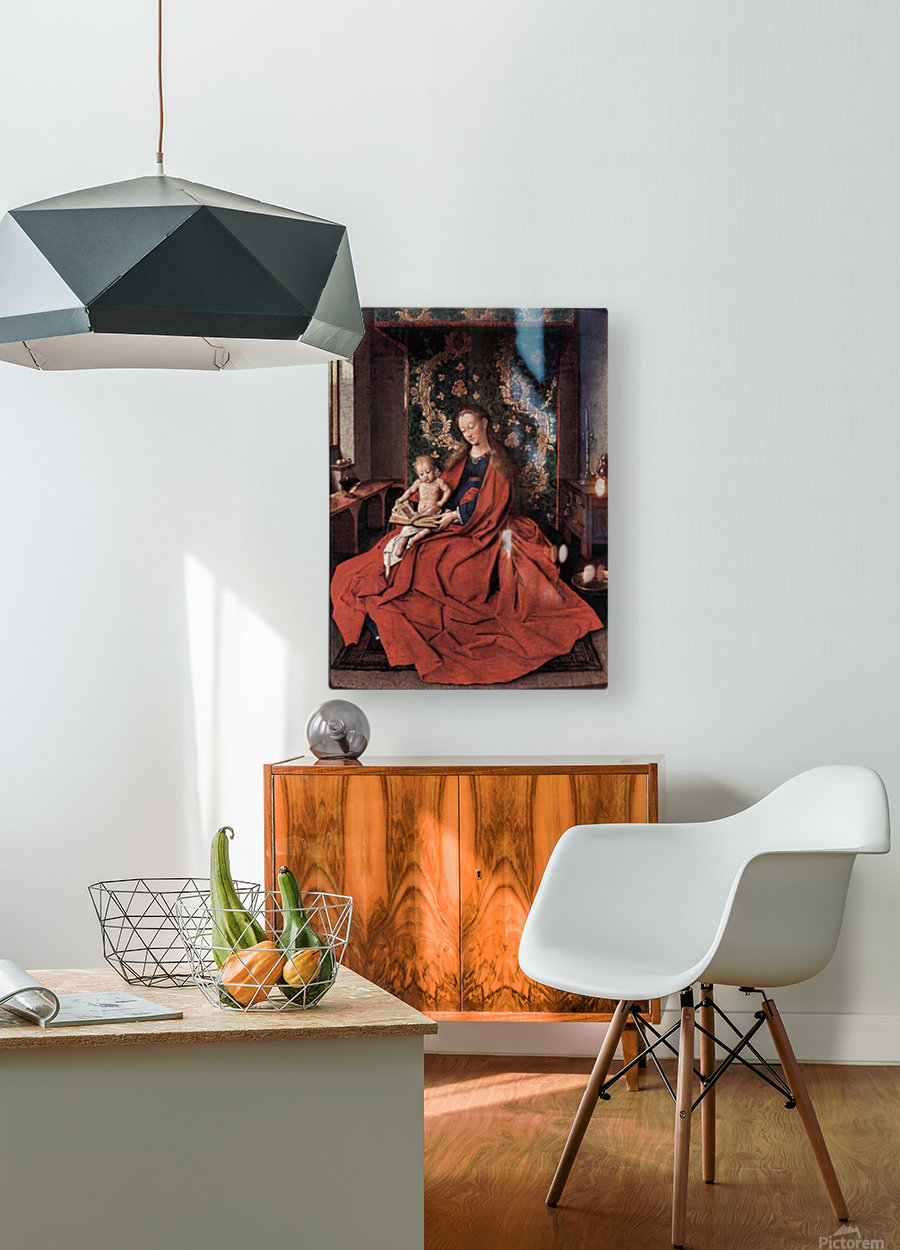 Madonna and child reading by Jan Van Eyck  HD Metal print with Floating Frame on Back