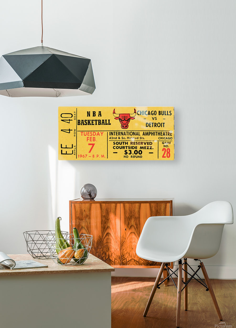 1967 Chicago Bulls 1st Season Ticket Art  HD Metal print with Floating Frame on Back