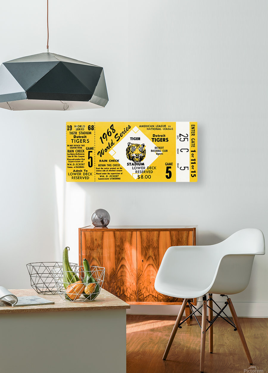 1968 Detroit Tigers World Series Tickets  HD Metal print with Floating Frame on Back