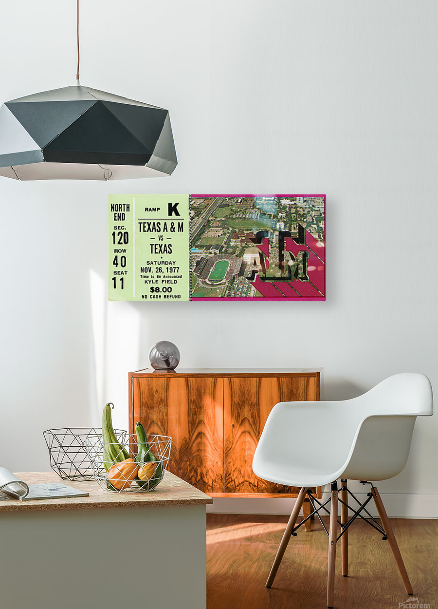 1977 texas am aggies college station football ticket stub wall art  HD Metal print with Floating Frame on Back
