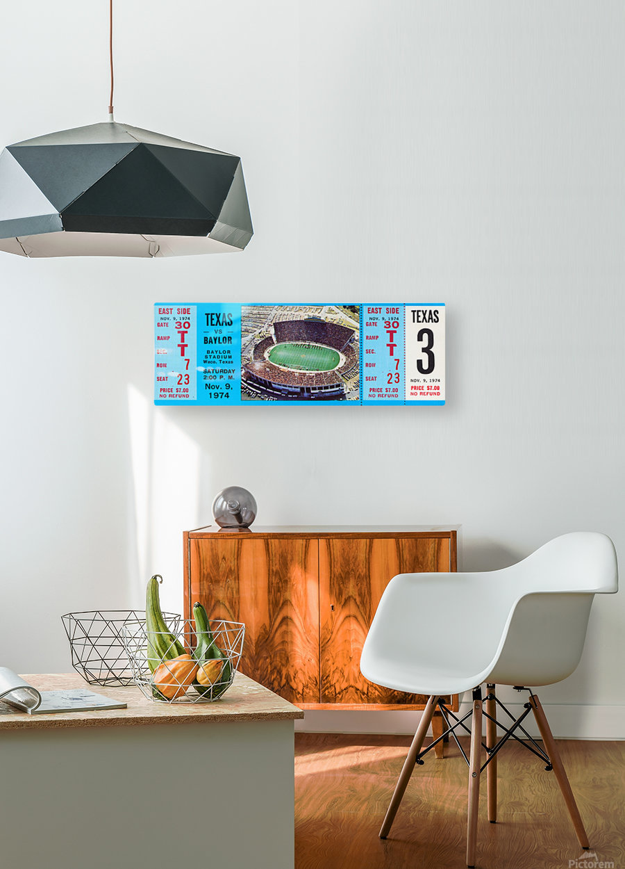 1974 baylor bears texas college football ticket art  HD Metal print with Floating Frame on Back