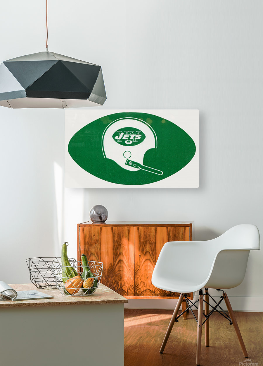 1960s new york jets helmet wall art  HD Metal print with Floating Frame on Back