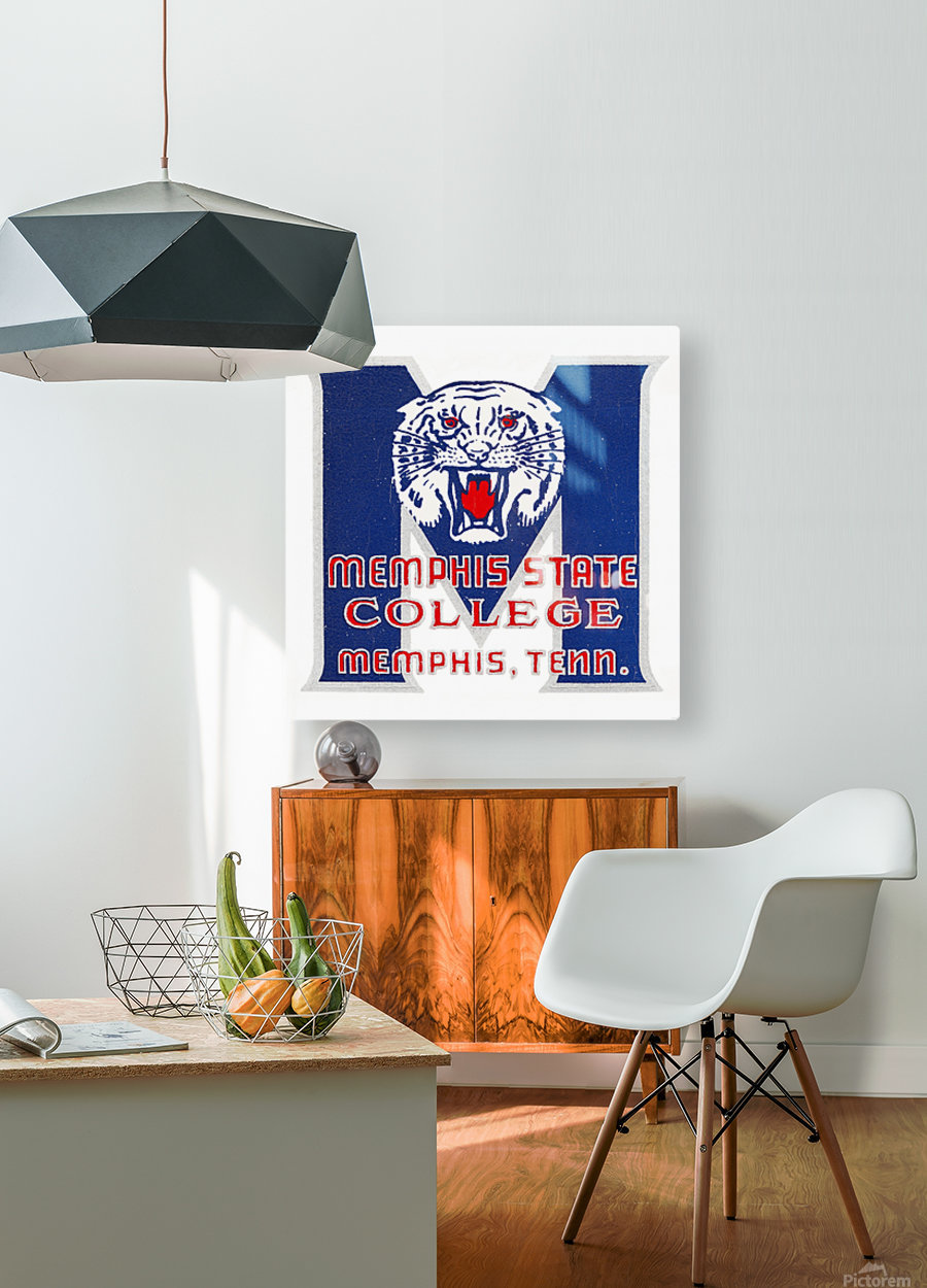 1950s Memphis State College Tigers  HD Metal print with Floating Frame on Back