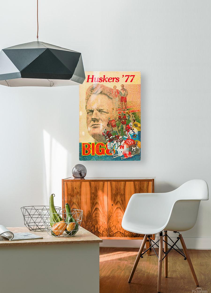 1977 nebraska cornhuskers tom osborne big 8 college football poster  HD Metal print with Floating Frame on Back