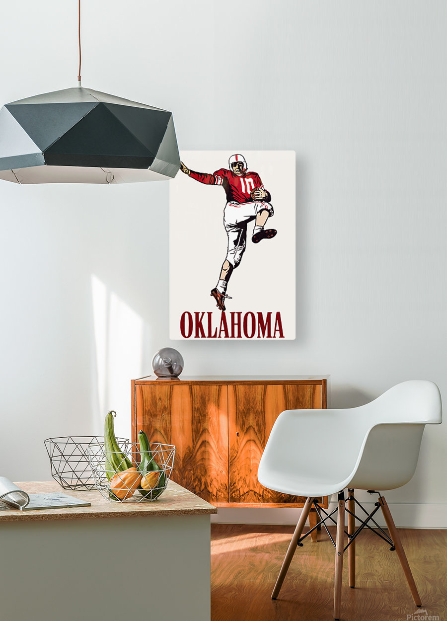 vintage oklahoma sooners football art running back  HD Metal print with Floating Frame on Back