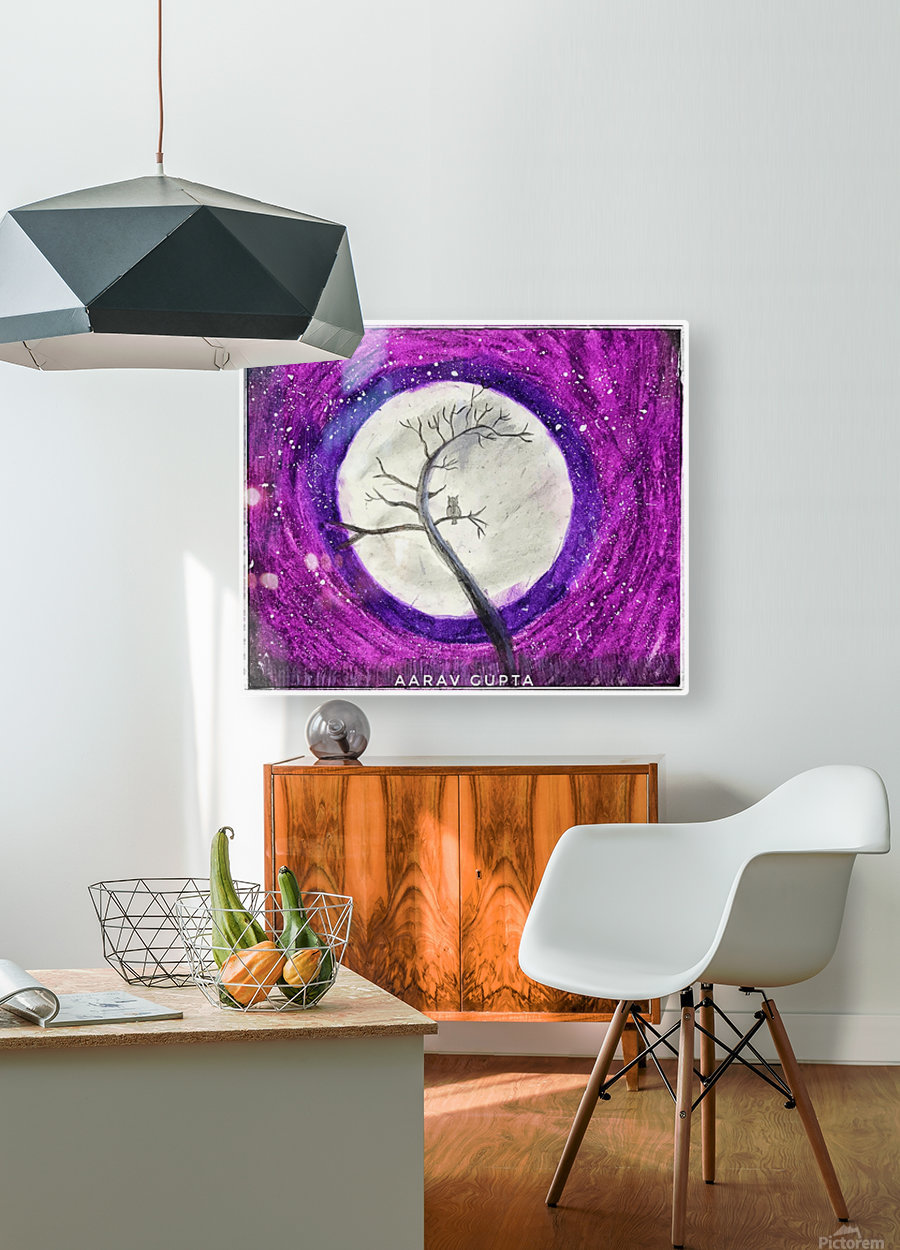 Moon  HD Metal print with Floating Frame on Back