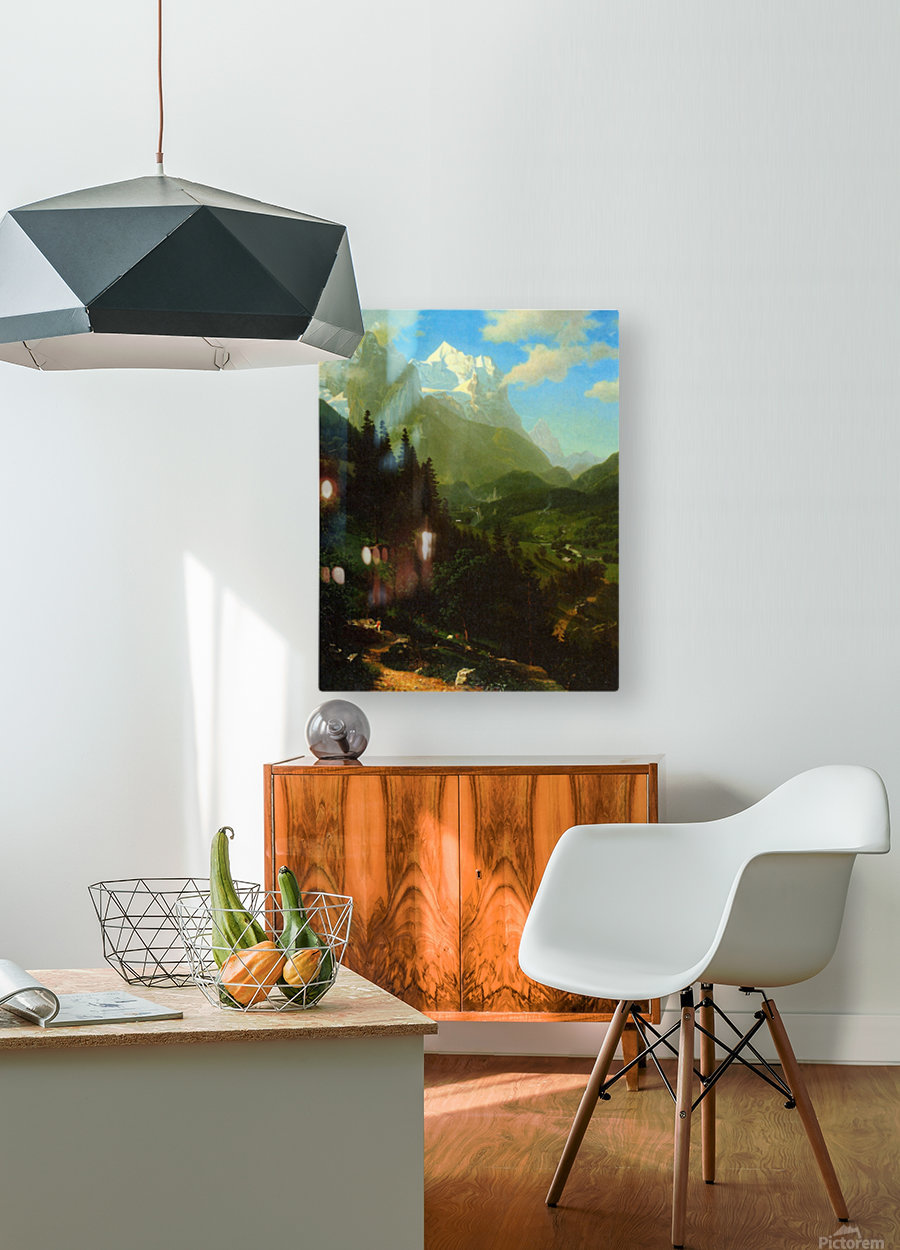 Matterhorn by Bierstadt  HD Metal print with Floating Frame on Back