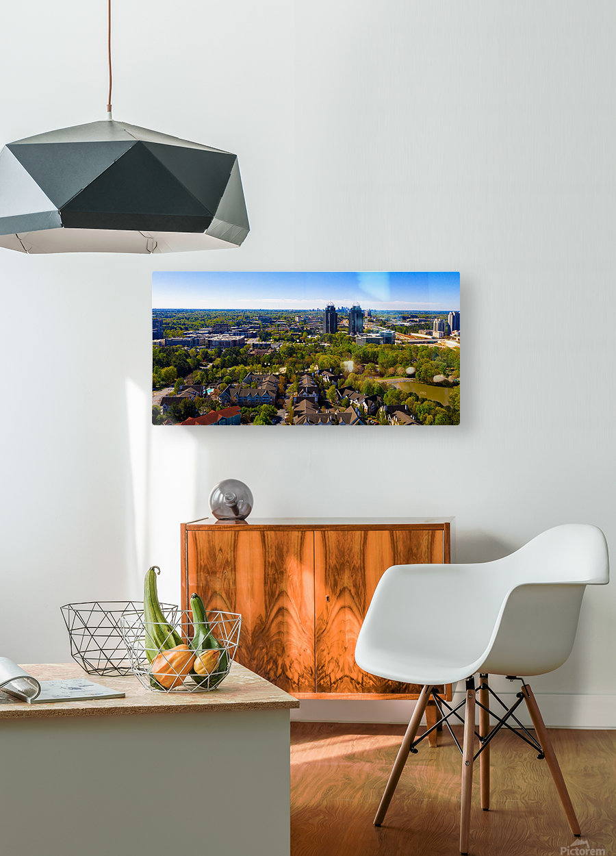 King and Queen Buildings Aerial View   Atlanta GA 0561  HD Metal print with Floating Frame on Back
