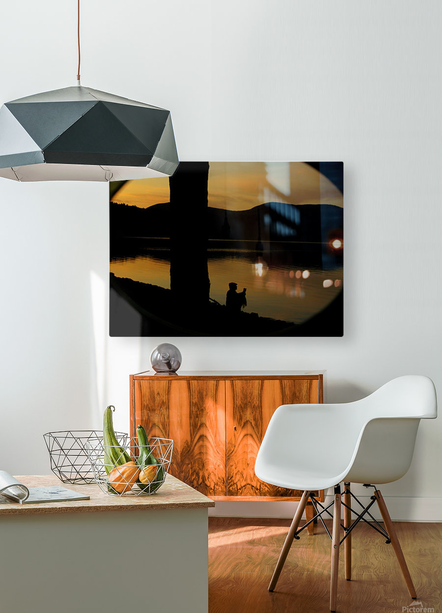 contemplation at waters edge  HD Metal print with Floating Frame on Back