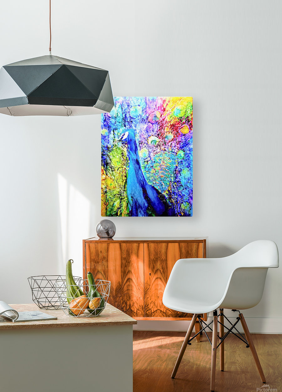 Impasto Peacock  HD Metal print with Floating Frame on Back