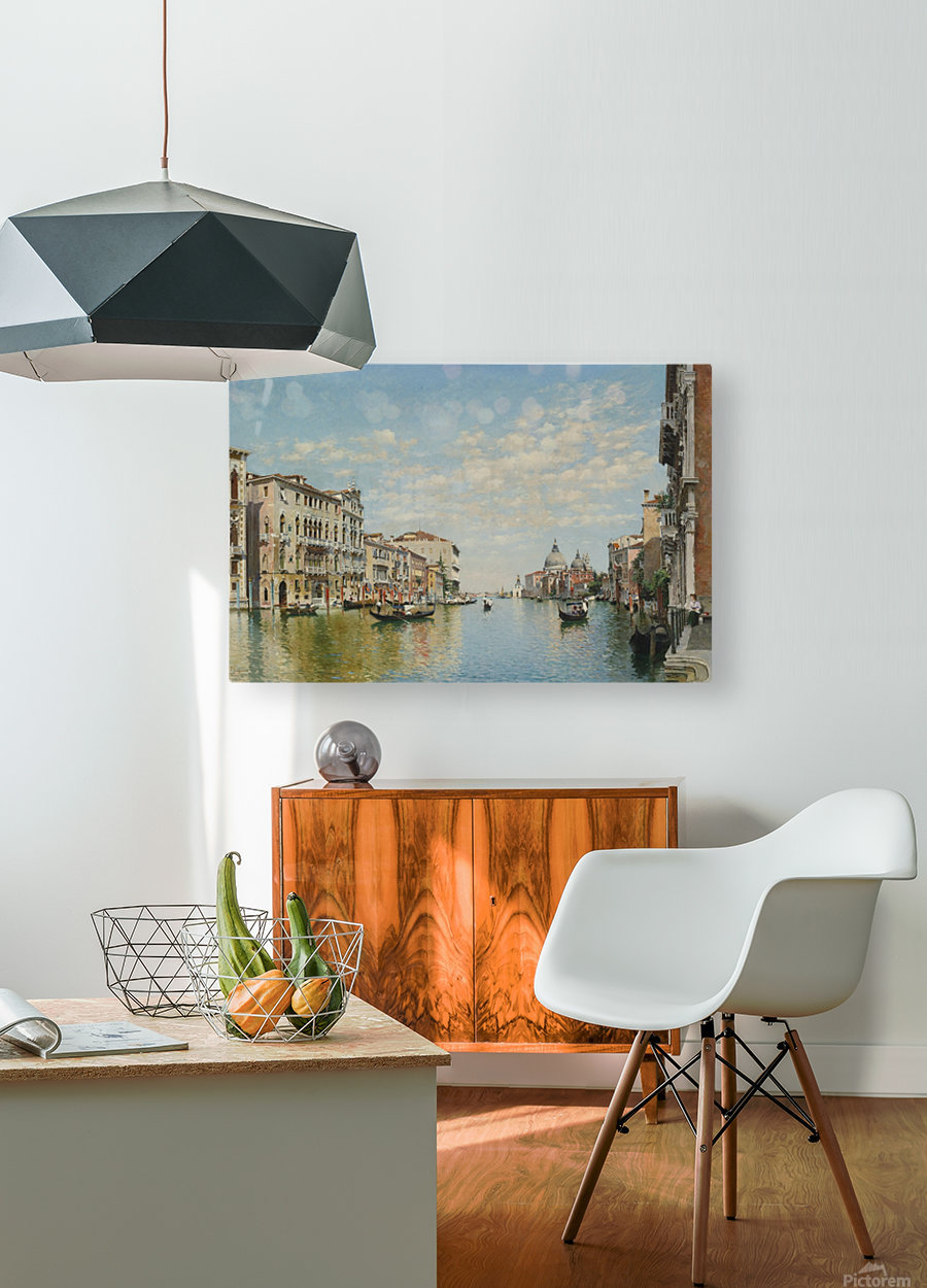 Gondoliers on The Grand Canal in Venice  HD Metal print with Floating Frame on Back
